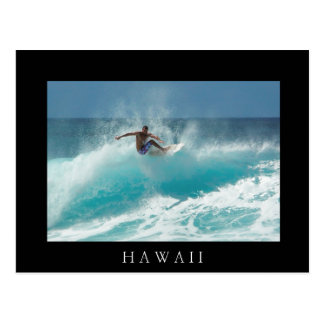 Surfer on a big wave black Hawaii postcard