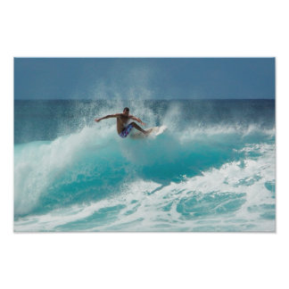 Surfer on a big wave poster print