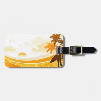 Surfer on Beach Design Luggage Tag