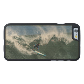 Surfer on Blue and White Surfboard Carved Maple iPhone 6 Case