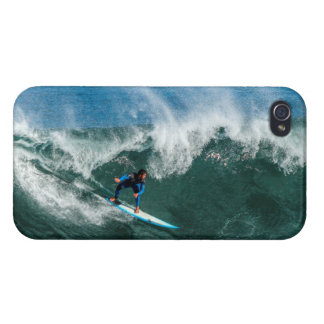 Surfer on Blue and White Surfboard Cases For iPhone 4