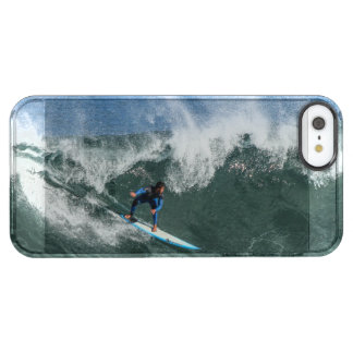 Surfer on Blue and White Surfboard Clear iPhone SE/5/5s Case