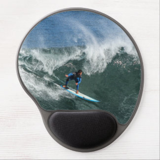 Surfer on Blue and White Surfboard Gel Mouse Pad