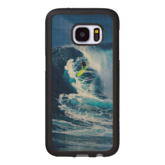 Surfer on Green Surfboard Wood Samsung Galaxy S7 Case