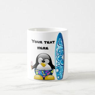 Surfer Penguin with Ice Cream Coffee Mug