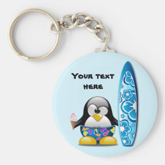 Surfer Penguin with Ice Cream Basic Round Button Key Ring