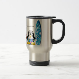 Surfer Penguin with Ice Cream Stainless Steel Travel Mug