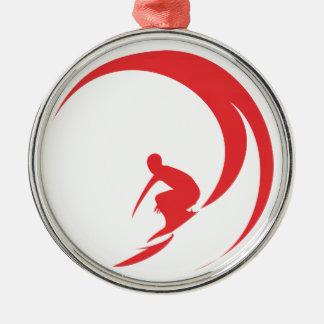 Surfer Red Metal Ornament