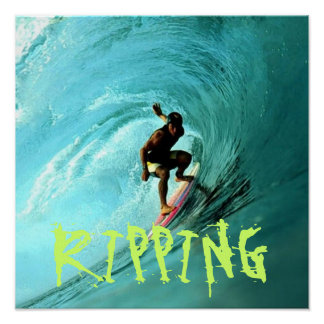 Surfer riding a wave poster