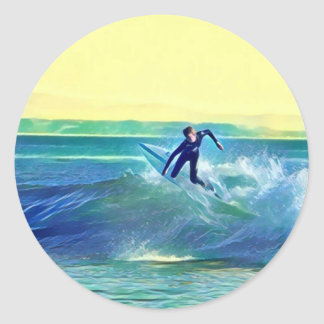 Surfer Round Sticker