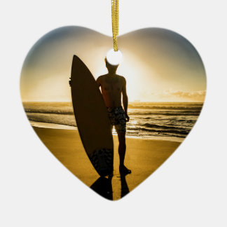 Surfer silhouette during sunrise ceramic heart decoration