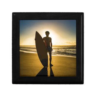 Surfer silhouette during sunrise gift box