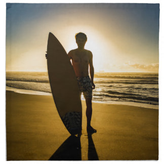 Surfer silhouette during sunrise napkin