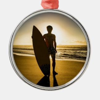 Surfer silhouette during sunrise Silver-Colored round decoration