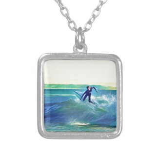 Surfer Silver Plated Necklace