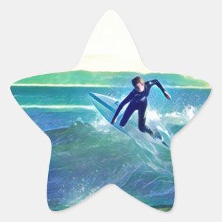 Surfer Star Sticker