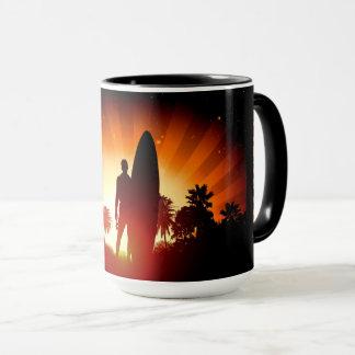 Surfer Sunset custom name mugs