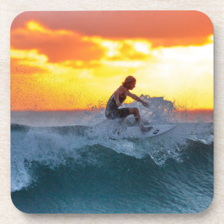 Surfer sunset indian ocean coaster