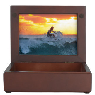 Surfer sunset indian ocean keepsake box