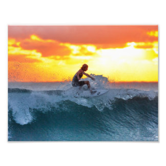 Surfer sunset indian ocean photo print