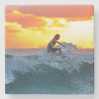Surfer sunset indian ocean stone coaster