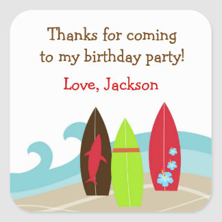 Surfer Surf Birthday Party favor stickers labels
