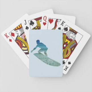 Surfer Surfing Aqua Ocean Abstract, Playing Cards
