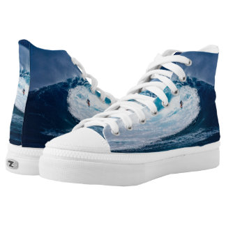 Surfer Surfing Ocean Waves Zipz High Top Shoes