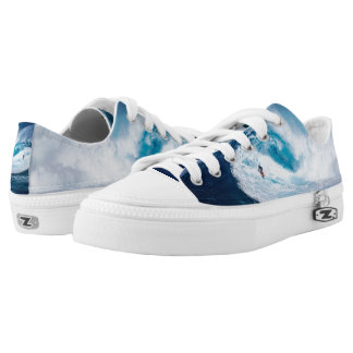 Surfer Surfing Ocean Waves Zipz Low Top Shoes
