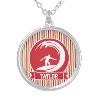 Surfer, Surfing; Red, Orange, Green, White Stripes Necklaces