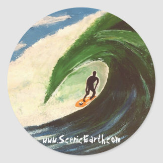 Surfer Surfing Tube Ride Hawaii Shoreline Sticker