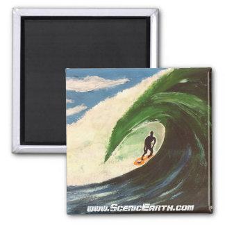 Surfer Surfing Tube Ride Hawaii Surf Art Magnet