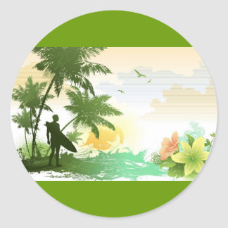 Surfer Theme Classic Round Sticker