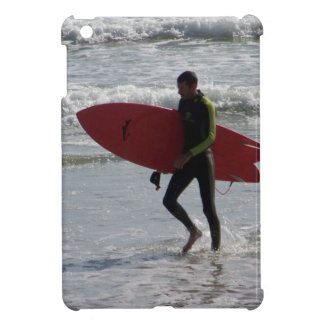 Surfer with surf board with waves case for the iPad mini