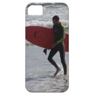 Surfer with surf board with waves iPhone 5 cover