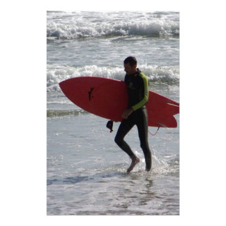 Surfer with surf board with waves stationery