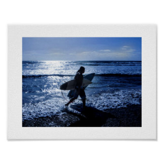 Surfer With Surfboards At the Beach Poster