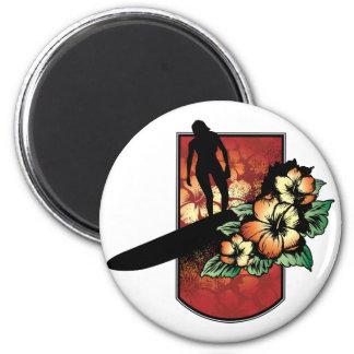 Surfer with tropical flower design magnet