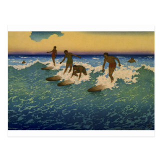 Surfers, Honolulu Hawaii riding the waves Postcard