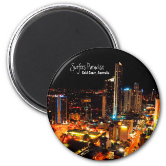 Surfers Paradise Gold Coast Australia City Lights 6 Cm Round Magnet