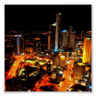 Surfers Paradise Gold Coast Australia City Lights Poster