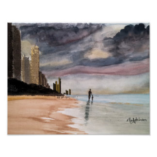 SURFERS PARADISE  WATERCOLOR POSTER