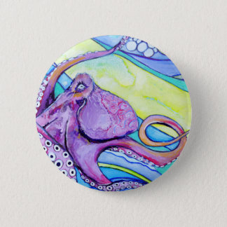Surfin Octopus 6 Cm Round Badge
