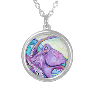 Surfin Octopus Silver Plated Necklace