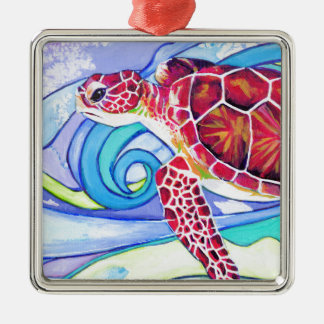 Surfin' Turtle Metal Ornament