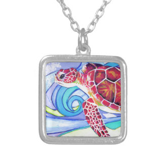Surfin' Turtle Silver Plated Necklace