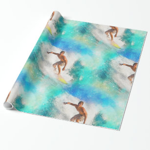 Surfing 17A-B Options Wrapping Paper