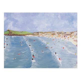Surfing at Porthmeor Postcard