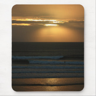 Surfing at sunset at Polzeath Mouse Pad