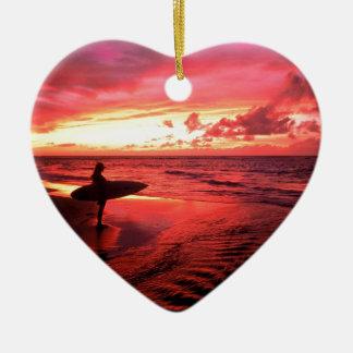 Surfing At Sunset Ceramic Heart Decoration